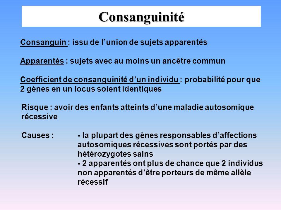 Consanguinité Consanguin : issu de lunion de sujets apparentés Apparentés : sujets avec au moins un ancêtre commun Coefficient de consanguinité dun in
