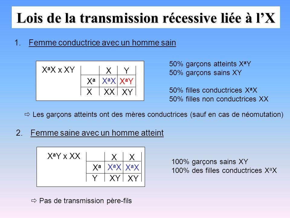 Lois de la transmission récessive liée à lX X a X x XY XaXXaX XX XY X XaXa XY 1.Femme conductrice avec un homme sain XaYXaY 50% garçons atteints X a Y