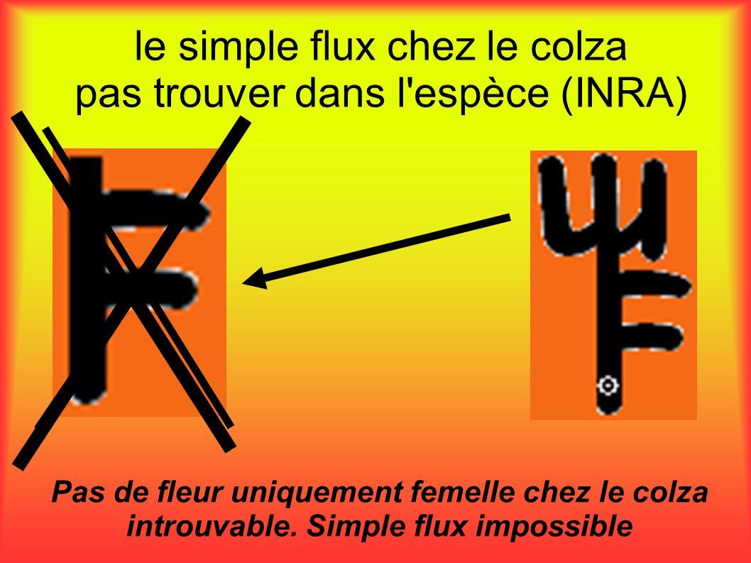 le simple flux chez le colza pas trouver dans l'espèce (INRA) Pas de fleur uniquement femelle chez le colza introuvable. Simple flux impossible