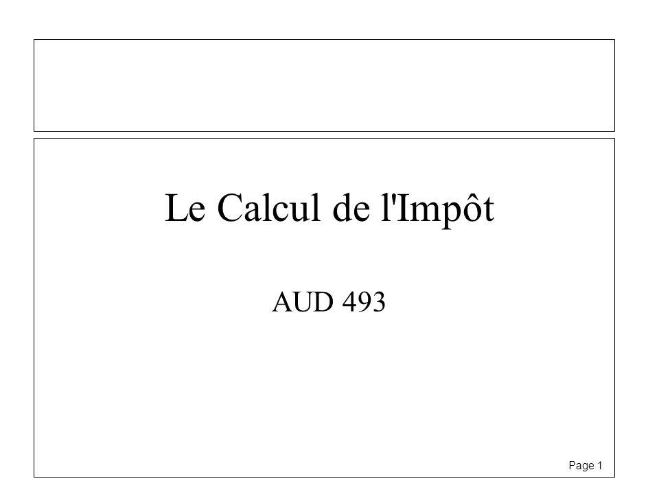 Page 1 Le Calcul de l'Impôt AUD 493