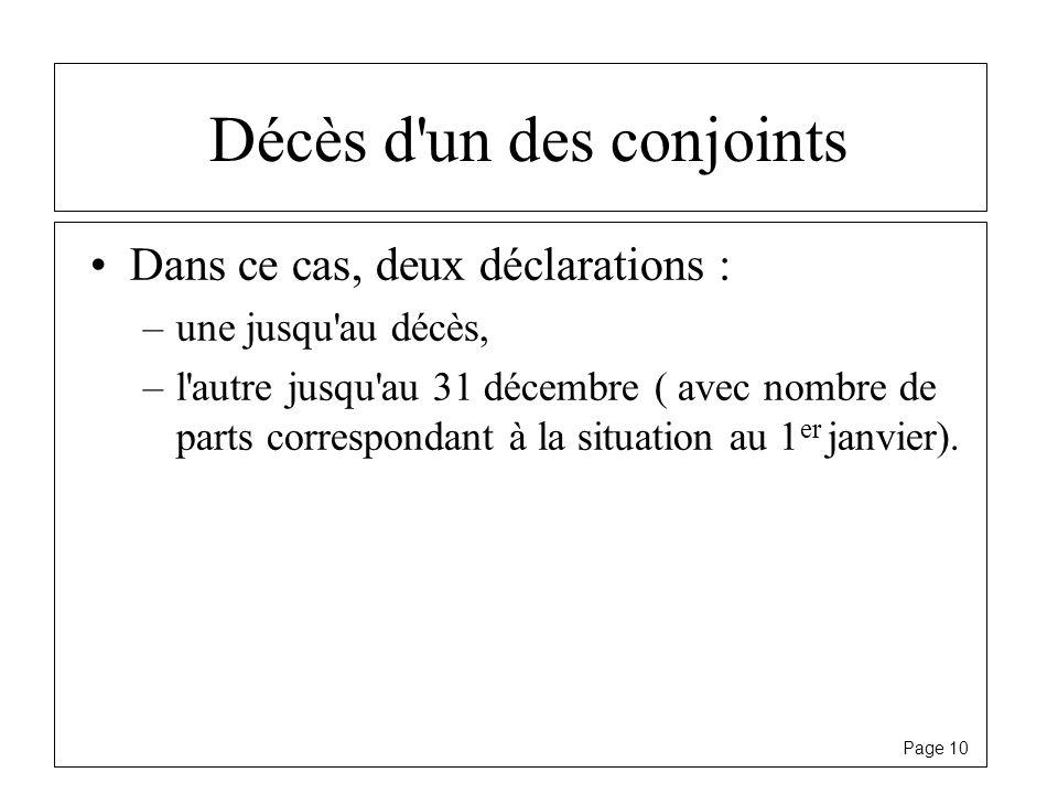 Page 10 Décès d'un des conjoints Dans ce cas, deux déclarations : –une jusqu'au décès, –l'autre jusqu'au 31 décembre ( avec nombre de parts correspond