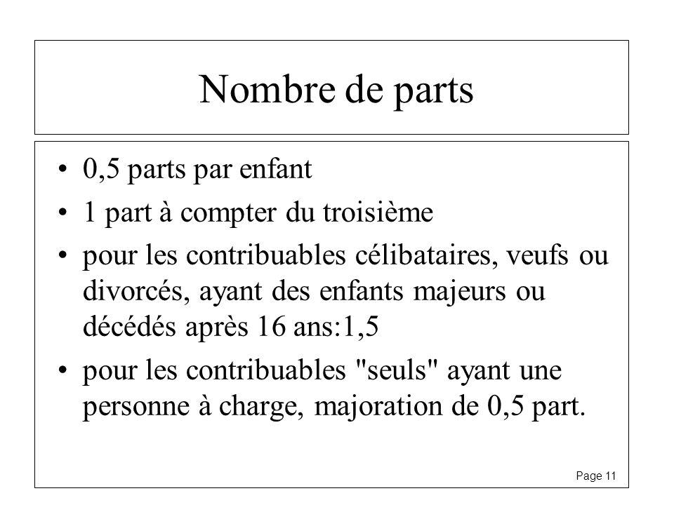 Page 11 Nombre de parts 0,5 parts par enfant 1 part à compter du troisième pour les contribuables célibataires, veufs ou divorcés, ayant des enfants m