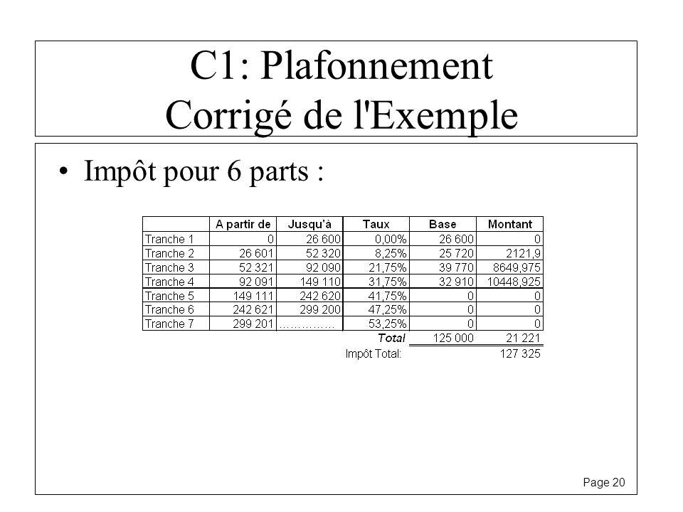 Page 20 C1: Plafonnement Corrigé de l'Exemple Impôt pour 6 parts :