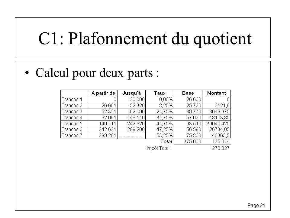 Page 21 C1: Plafonnement du quotient Calcul pour deux parts :