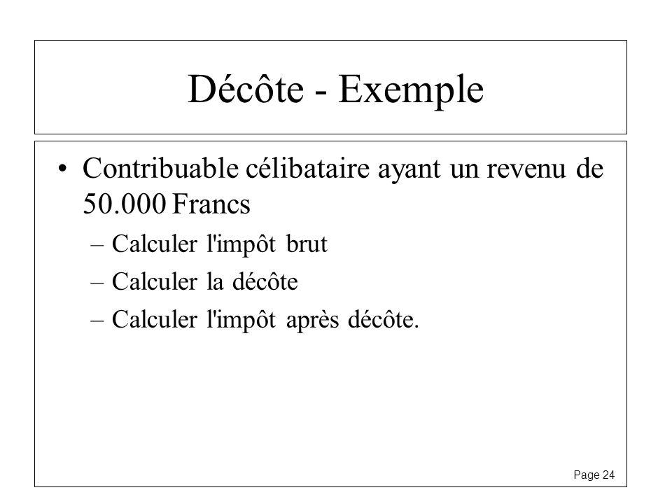 Page 24 Décôte - Exemple Contribuable célibataire ayant un revenu de 50.000 Francs –Calculer l'impôt brut –Calculer la décôte –Calculer l'impôt après