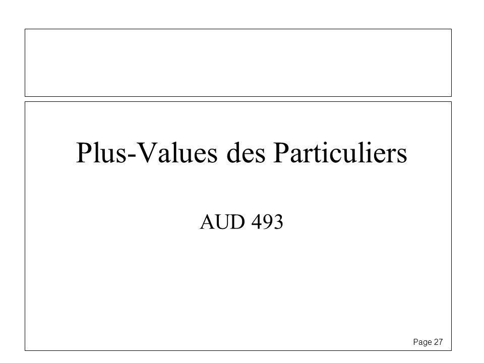Page 27 Plus-Values des Particuliers AUD 493