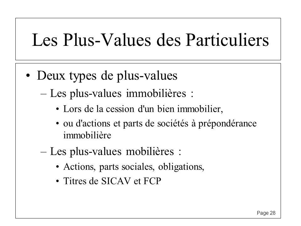 Page 28 Les Plus-Values des Particuliers Deux types de plus-values –Les plus-values immobilières : Lors de la cession d'un bien immobilier, ou d'actio