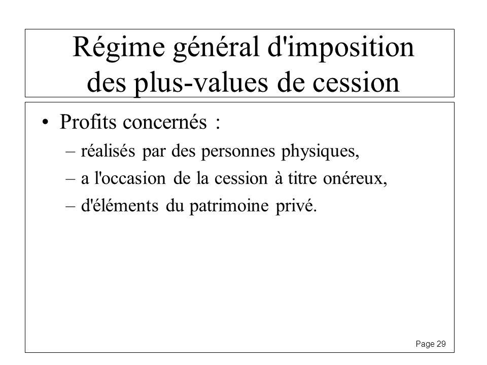 Page 29 Régime général d'imposition des plus-values de cession Profits concernés : –réalisés par des personnes physiques, –a l'occasion de la cession