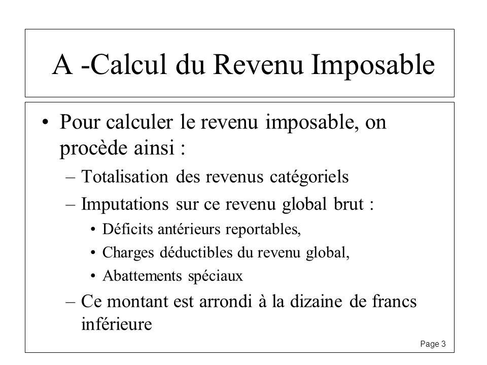 Page 3 A -Calcul du Revenu Imposable Pour calculer le revenu imposable, on procède ainsi : –Totalisation des revenus catégoriels –Imputations sur ce r
