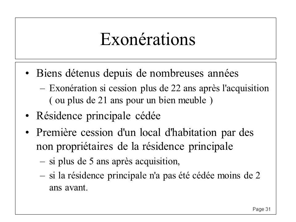Page 31 Exonérations Biens détenus depuis de nombreuses années –Exonération si cession plus de 22 ans après l'acquisition ( ou plus de 21 ans pour un