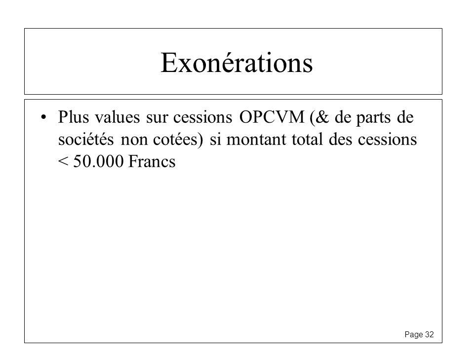 Page 32 Exonérations Plus values sur cessions OPCVM (& de parts de sociétés non cotées) si montant total des cessions < 50.000 Francs