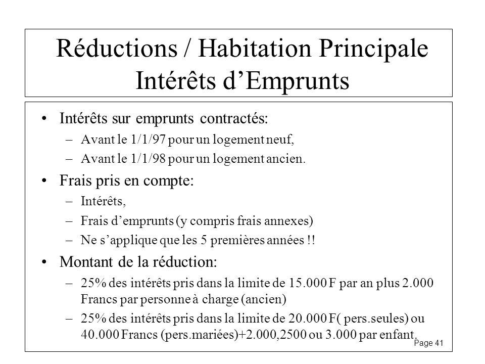 Page 41 Réductions / Habitation Principale Intérêts dEmprunts Intérêts sur emprunts contractés: –Avant le 1/1/97 pour un logement neuf, –Avant le 1/1/
