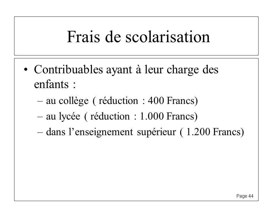 Page 44 Frais de scolarisation Contribuables ayant à leur charge des enfants : –au collège ( réduction : 400 Francs) –au lycée ( réduction : 1.000 Fra