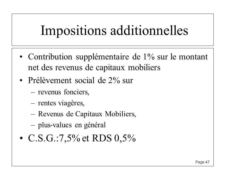 Page 47 Impositions additionnelles Contribution supplémentaire de 1% sur le montant net des revenus de capitaux mobiliers Prélèvement social de 2% sur