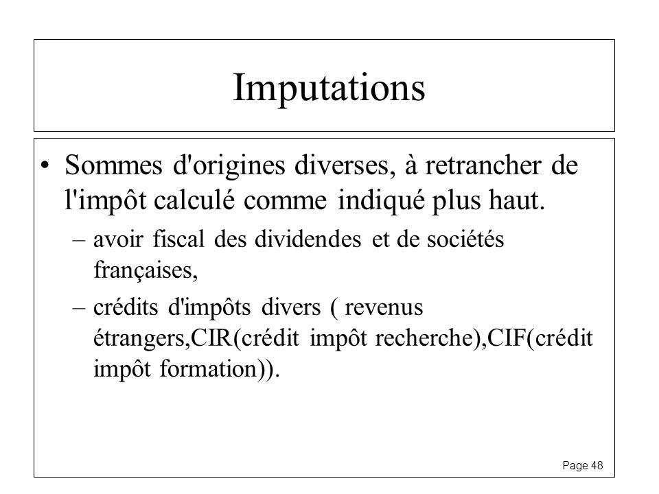 Page 48 Imputations Sommes d'origines diverses, à retrancher de l'impôt calculé comme indiqué plus haut. –avoir fiscal des dividendes et de sociétés f