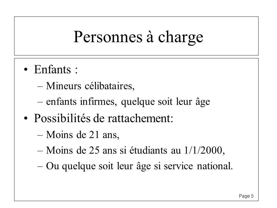 Page 5 Personnes à charge Enfants : –Mineurs célibataires, –enfants infirmes, quelque soit leur âge Possibilités de rattachement: –Moins de 21 ans, –M