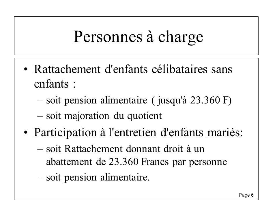 Page 6 Personnes à charge Rattachement d'enfants célibataires sans enfants : –soit pension alimentaire ( jusqu'à 23.360 F) –soit majoration du quotien