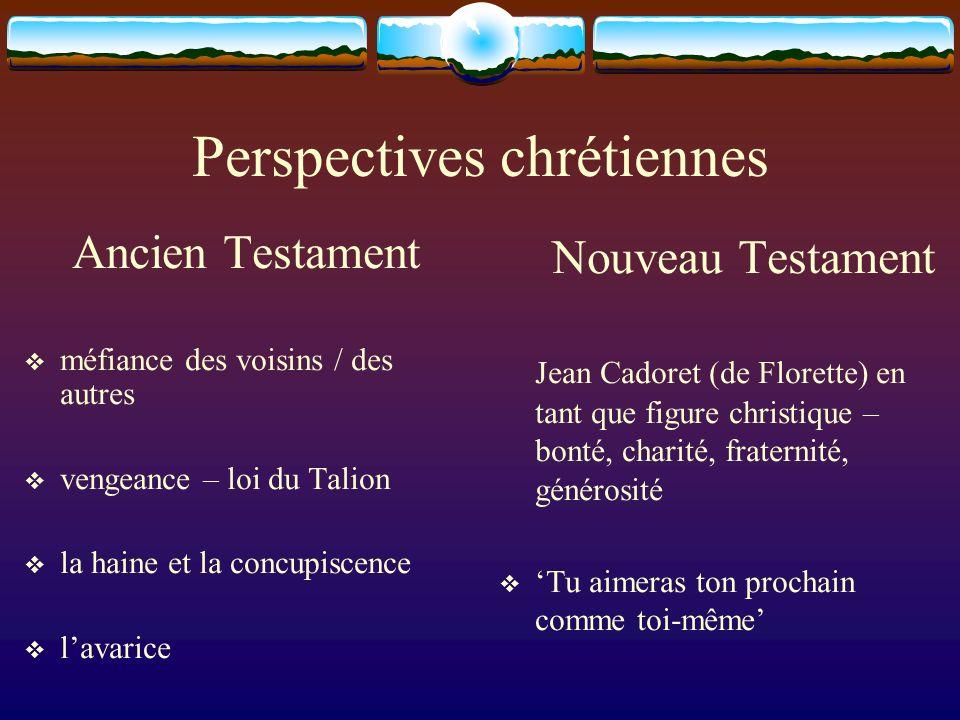 Perspectives chrétiennes Ancien Testament méfiance des voisins / des autres vengeance – loi du Talion la haine et la concupiscence lavarice Nouveau Te