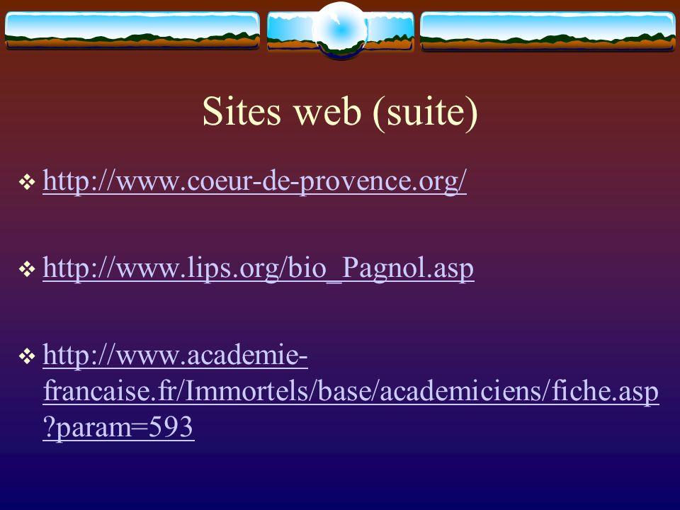 Sites web (suite) http://www.coeur-de-provence.org/ http://www.lips.org/bio_Pagnol.asp http://www.academie- francaise.fr/Immortels/base/academiciens/f