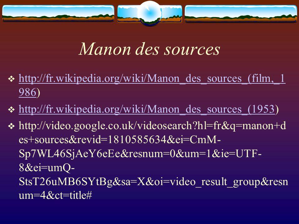 Manon des sources http://fr.wikipedia.org/wiki/Manon_des_sources_(film,_1 986) http://fr.wikipedia.org/wiki/Manon_des_sources_(film,_1 986 http://fr.w