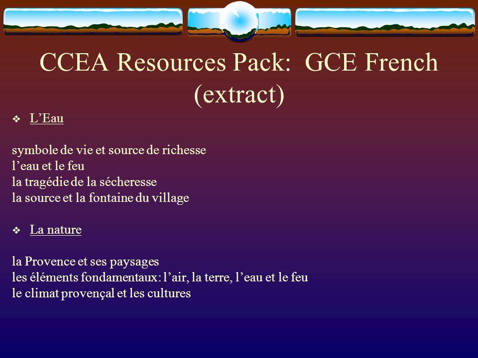 CCEA Resources Pack: GCE French (extract) LEau symbole de vie et source de richesse leau et le feu la tragédie de la sécheresse la source et la fontai