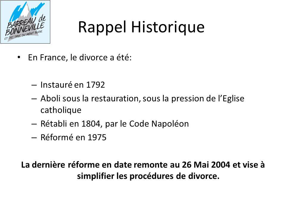 Rappel Historique En France, le divorce a été: – Instauré en 1792 – Aboli sous la restauration, sous la pression de lEglise catholique – Rétabli en 18