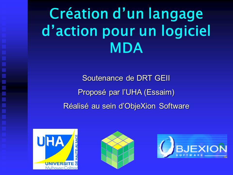 Création dun langage daction pour un logiciel MDA Soutenance de DRT GEII Proposé par lUHA (Essaim) Réalisé au sein dObjeXion Software