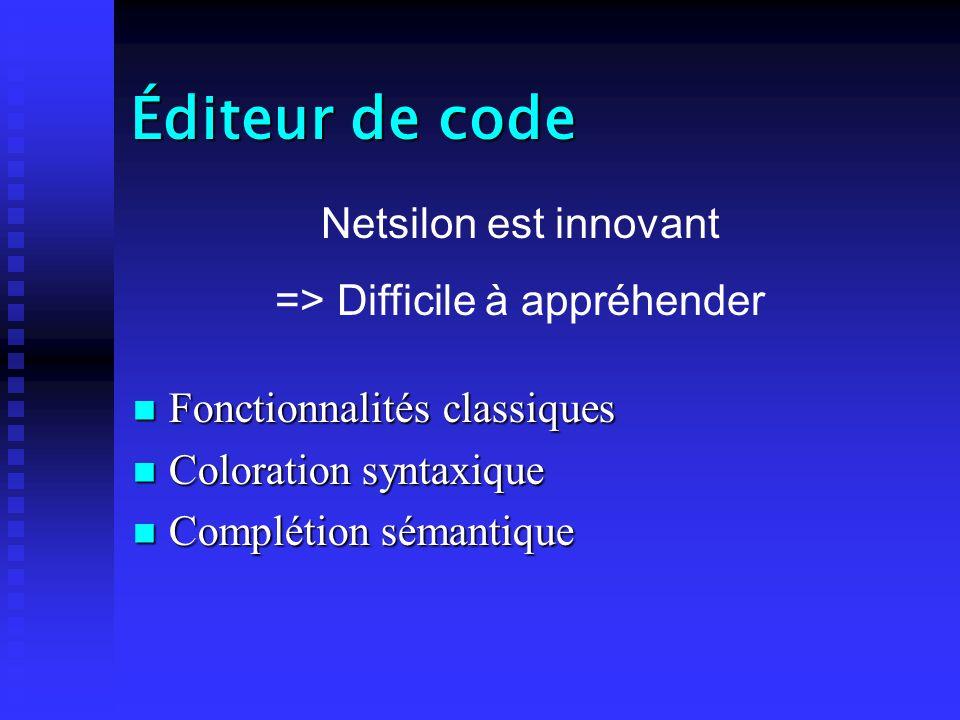 Éditeur de code Fonctionnalités classiques Fonctionnalités classiques Coloration syntaxique Coloration syntaxique Complétion sémantique Complétion sémantique Netsilon est innovant => Difficile à appréhender
