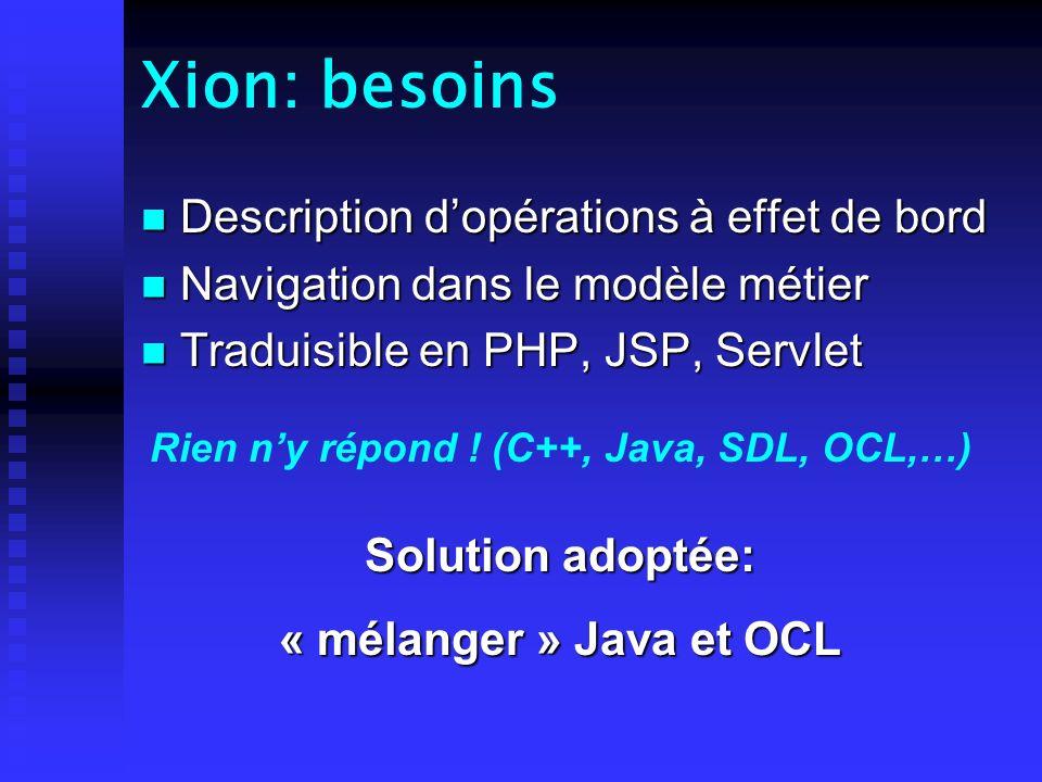 Xion: réalisation Analyse Lexicale Analyse Syntaxique Analyse Sémantique XionTokensArbre 1 Génération Intermédiaire Arbre 2 Génération Adaptative Meta-LangageScripts