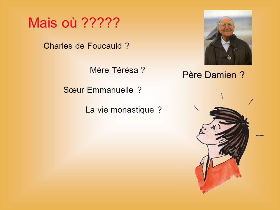 Mais où ????.Charles de Foucauld . Père Damien . Mère Térésa .