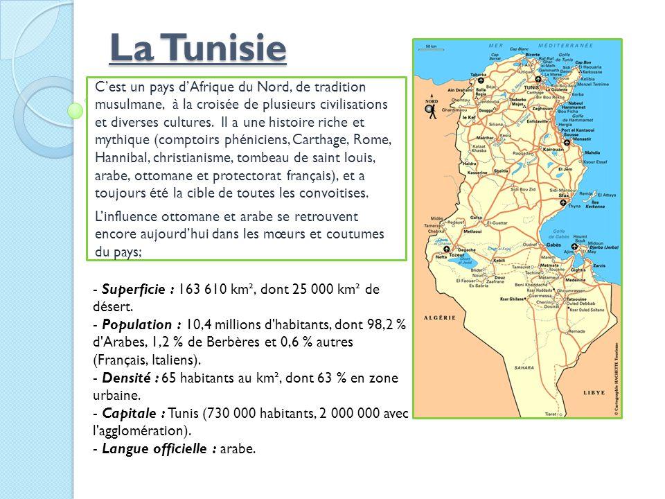 La Tunisie Cest un pays dAfrique du Nord, de tradition musulmane, à la croisée de plusieurs civilisations et diverses cultures. Il a une histoire rich