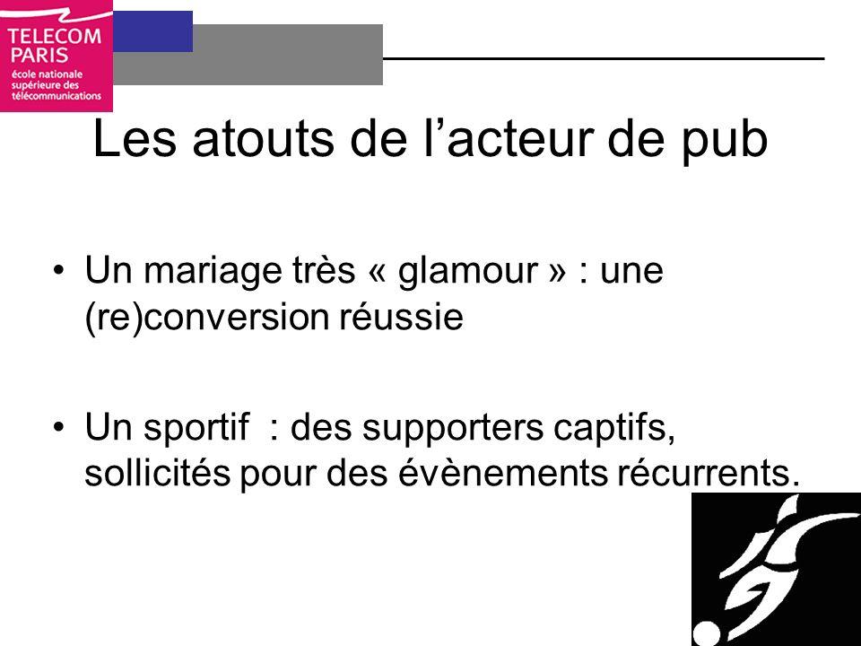 Les atouts de lacteur de pub Un mariage très « glamour » : une (re)conversion réussie Un sportif : des supporters captifs, sollicités pour des évènements récurrents.