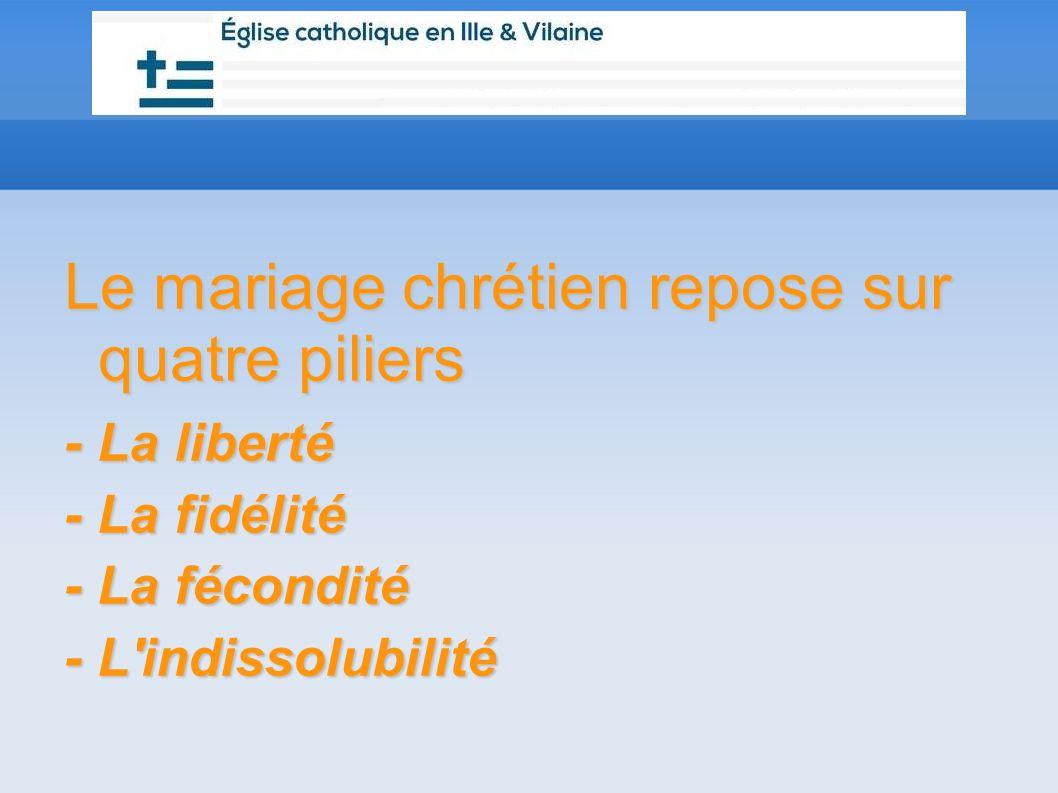 Le mariage chrétien repose sur quatre piliers - La liberté - La fidélité - La fécondité - L'indissolubilité