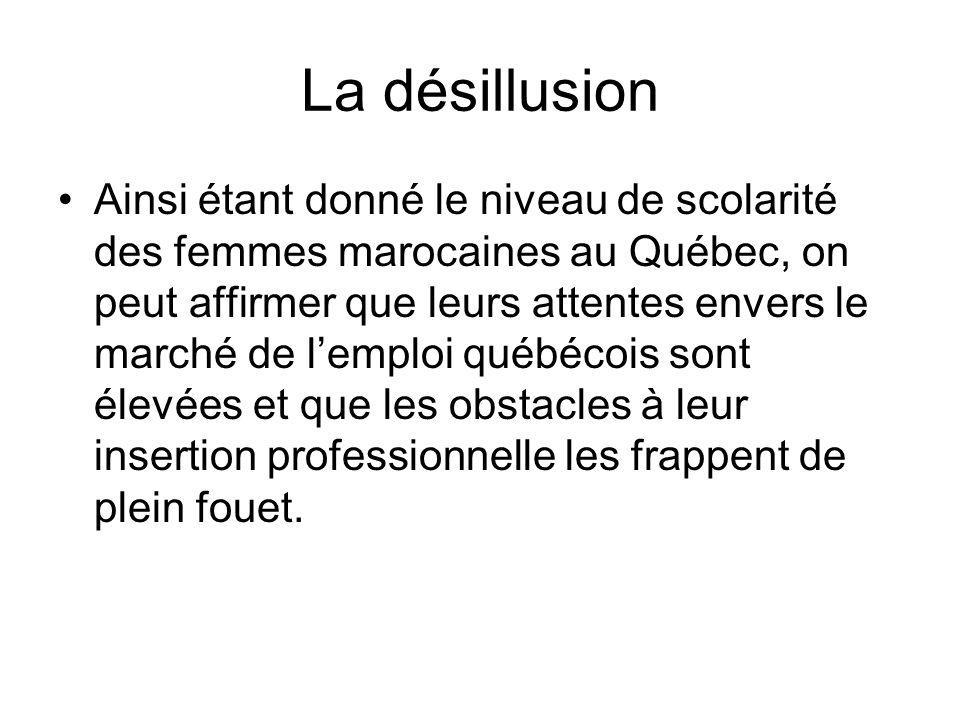 La désillusion Ainsi étant donné le niveau de scolarité des femmes marocaines au Québec, on peut affirmer que leurs attentes envers le marché de lempl