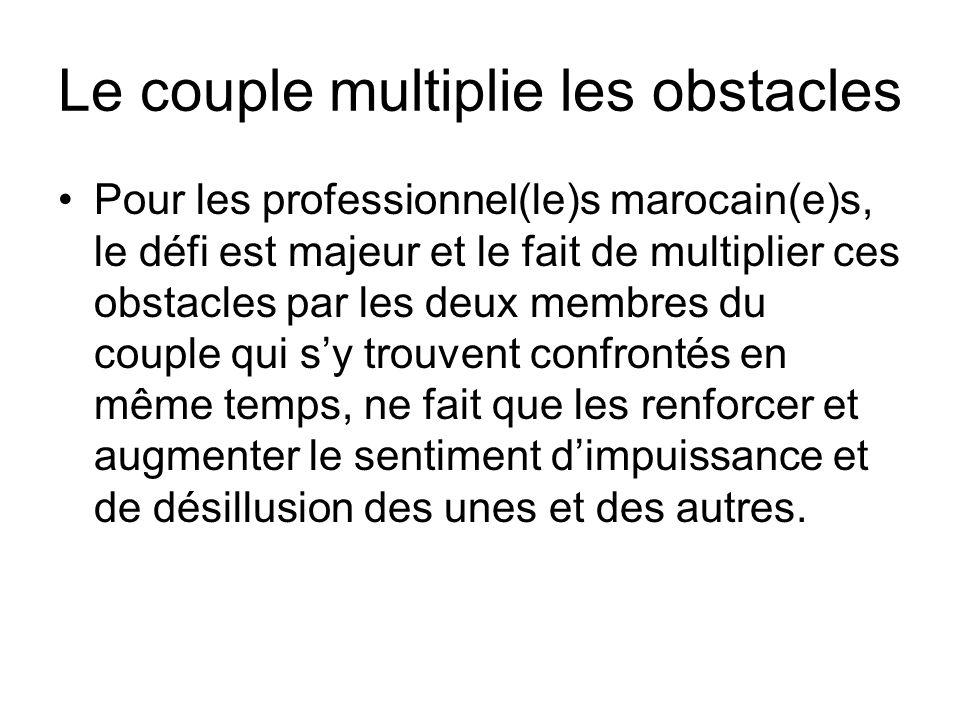 Le couple multiplie les obstacles Pour les professionnel(le)s marocain(e)s, le défi est majeur et le fait de multiplier ces obstacles par les deux mem