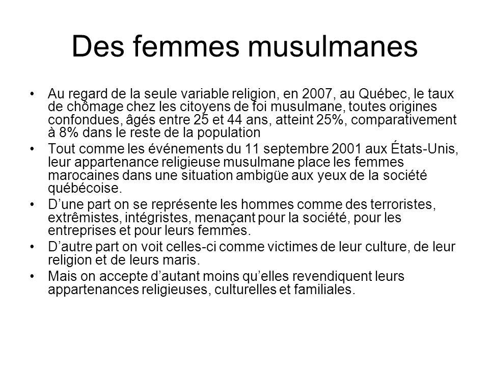Des femmes musulmanes Au regard de la seule variable religion, en 2007, au Québec, le taux de chômage chez les citoyens de foi musulmane, toutes origi