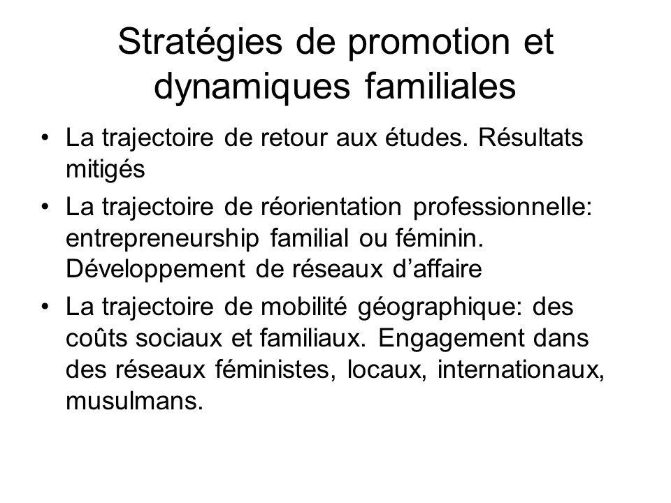 Stratégies de promotion et dynamiques familiales La trajectoire de retour aux études. Résultats mitigés La trajectoire de réorientation professionnell