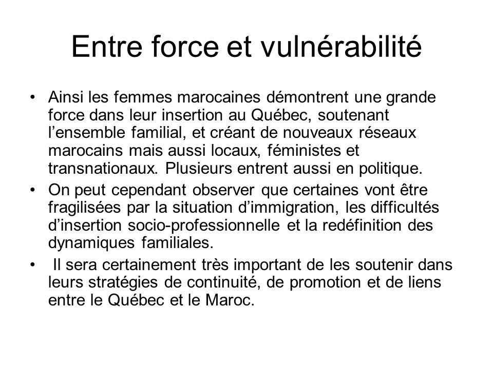 Entre force et vulnérabilité Ainsi les femmes marocaines démontrent une grande force dans leur insertion au Québec, soutenant lensemble familial, et c