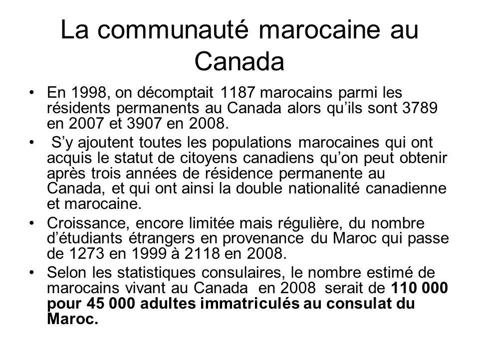 La communauté marocaine au Canada En 1998, on décomptait 1187 marocains parmi les résidents permanents au Canada alors quils sont 3789 en 2007 et 3907