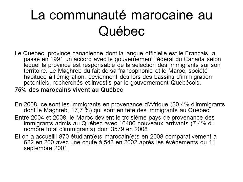 La communauté marocaine au Québec Le Québec, province canadienne dont la langue officielle est le Français, a passé en 1991 un accord avec le gouverne