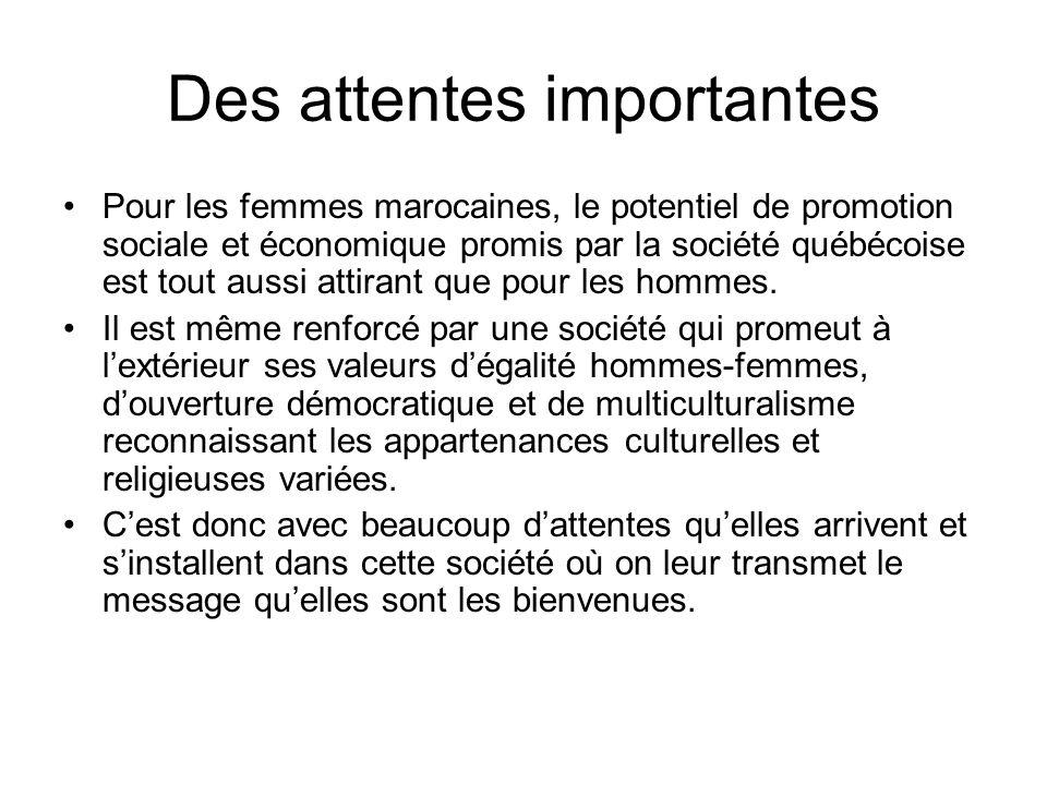 Des attentes importantes Pour les femmes marocaines, le potentiel de promotion sociale et économique promis par la société québécoise est tout aussi a