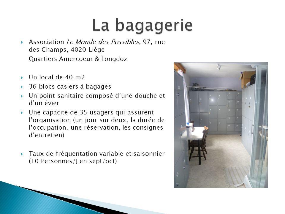 Association Le Monde des Possibles, 97, rue des Champs, 4020 Liège Quartiers Amercoeur & Longdoz Un local de 40 m2 36 blocs casiers à bagages Un point