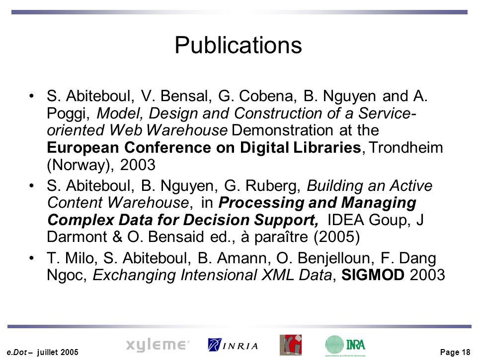 e.Dot – juillet 2005 Page 18 Publications S. Abiteboul, V.