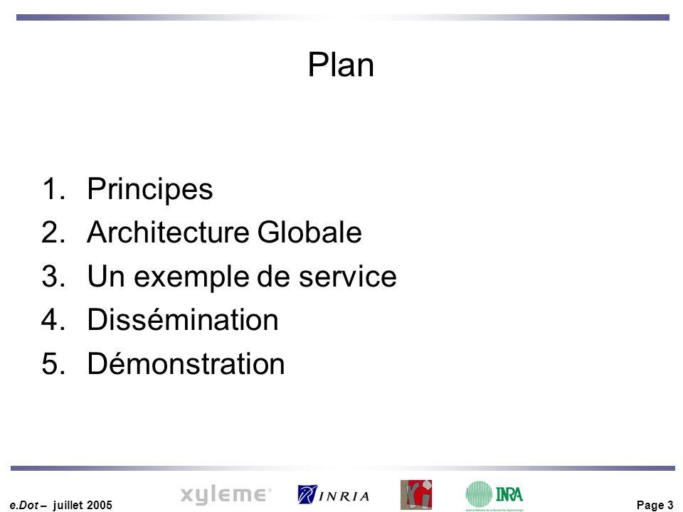 e.Dot – juillet 2005 Page 3 Plan 1.Principes 2.Architecture Globale 3.Un exemple de service 4.Dissémination 5.Démonstration