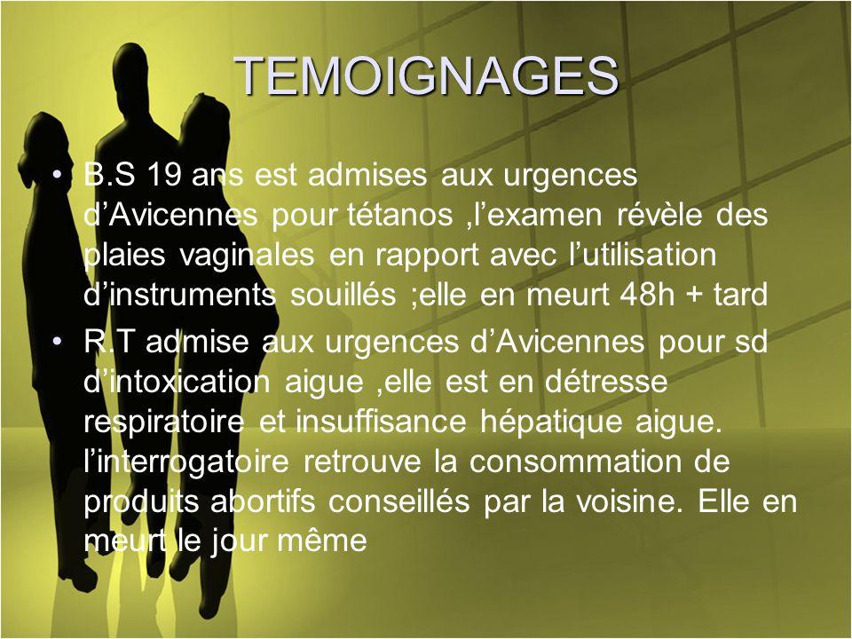 TEMOIGNAGES B.S 19 ans est admises aux urgences dAvicennes pour tétanos,lexamen révèle des plaies vaginales en rapport avec lutilisation dinstruments