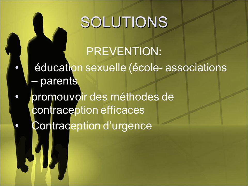 SOLUTIONS PREVENTION: éducation sexuelle (école- associations – parents promouvoir des méthodes de contraception efficaces Contraception durgence
