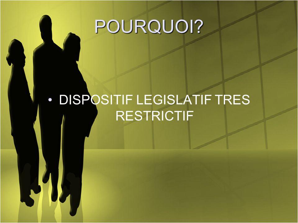 POURQUOI? DISPOSITIF LEGISLATIF TRES RESTRICTIF