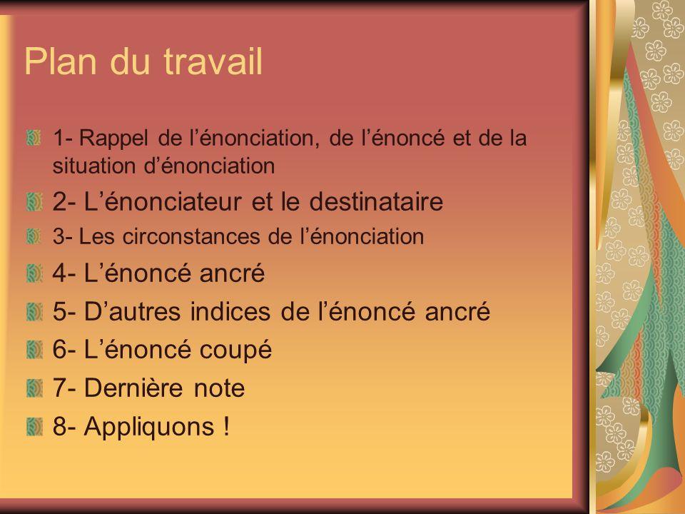 Plan du travail 1- Rappel de lénonciation, de lénoncé et de la situation dénonciation 2- Lénonciateur et le destinataire 3- Les circonstances de lénon