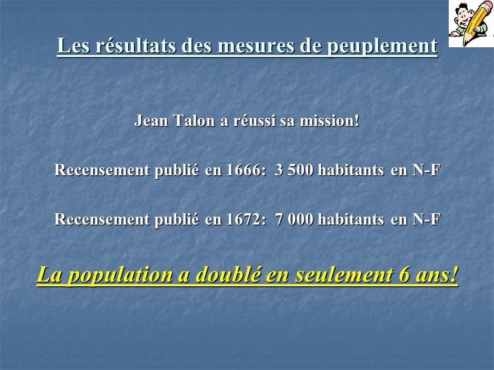 Les résultats des mesures de peuplement Jean Talon a réussi sa mission! Recensement publié en 1666: 3 500 habitants en N-F Recensement publié en 1672: