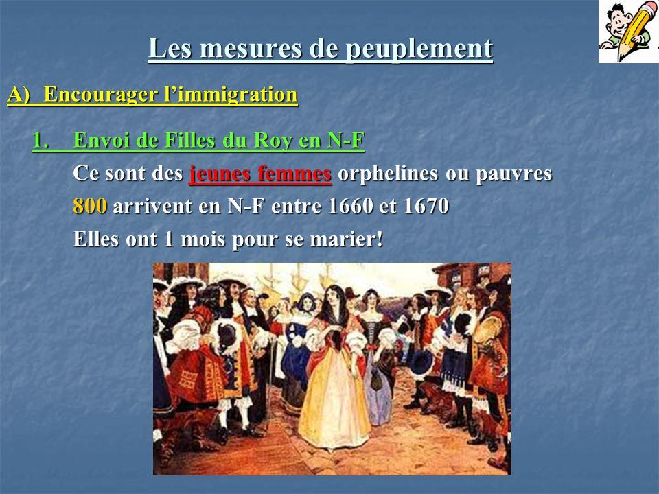 Les mesures de peuplement A) Encourager limmigration 1.Envoi de Filles du Roy en N-F Ce sont des jeunes femmes orphelines ou pauvres 800 arrivent en N